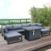 7pcs Outdoor Patio Furniture Set Sofa Set Sectional Sofa Couch W/fire Pit Table