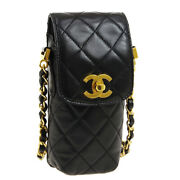 Quilted Cc Chain Shoulder Bag Phone Case 3889593 Black Leather 00957