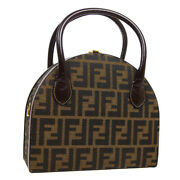 Fendi Zucca Pattern 2way Hand Bag Box Brown Black Canvas Leather Italy 04535