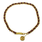 Cc Logos Medallion Gold Red Chain Belt Leather Accessories 01898