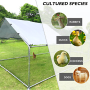 Large Metal Chicken Coop Cage Walk-in Enclosure Poultry Hen Run Pet Spire House