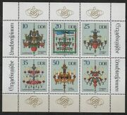 Germany Ddr 1989 Sc 2786 Mint Mnh Christmas Chandeliers Candles Sheet Stamps
