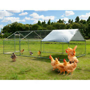 Large Metal Hutches Chicken Rabbit Gog Coop Cage Hen Run House Waterproof Cage