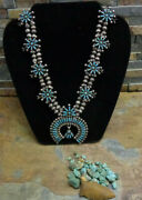 Sale. Wow 30's Zuni Sterling Turquoise Squash Blossom Necklace Old Pawn Harvey