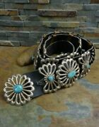 Best 50s 722g Navajo Sand Cast Large Blue Turquoise Sterling Concho Belt Buckle