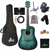 Winzz Hand Rubbed Series - Left Handed 41 Inches Cutaway Acoustic Guitar Beginne