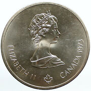 1973 Canada Queen Elizabeth Ii Olympics Montreal World Map Silver 10 Coin I94446