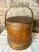 Antique Primitive Three Banded Firkin With Lid