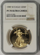 1989-w American Gold Eagle 50 One-ounce 1 Oz Proof Pf 70 Ultra Cameo Ngc