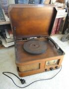 Antique American Radio Combination Turntable Record Player And Radio Tube Works