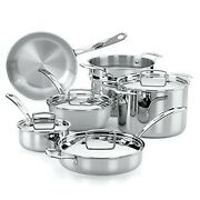 The French Chefs 10 Piece 5 Ply Stainless Steel Cookware Set Pots And Pans New