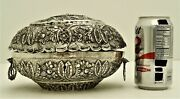 Ottoman Turkish Sterling Silver Spice Box Marked Tugra And Sah 900 Fine C 1865