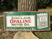 Original 1920andrsquos Porcelain 48andrdquo Sinclair Opaline Motor Oil Can Glossy Sign Gas