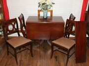 Duncan Phyfe Drop Leaf Dining Table And Four Chairs