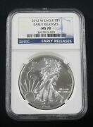 2012 W Burnished American Silver Eagle Ngc Ms 70 Early Releases