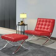 Red Lounge Chair And Ottoman Footstool Genuine Leather Club Chair Foldable Chair