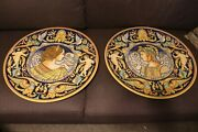 Rare Pair Of Italian Deruta Majolica Pottery Wall Grand Charger Vintage 24 G.p.