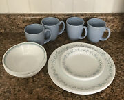 Corelle Corning 16 Pc French Country Cottage Blue White Green Set Service 4