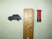 Vintage British Cast Iron Miniature Popper Toys Post Box And Taxi