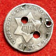 Button Civil War Made From An 1853 Silver Trime 3-cent Piece 3rd Hole At The