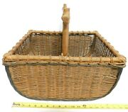 Vintage Large Wicker Basket With Solid Wood Handle 18x14x 9 Tall