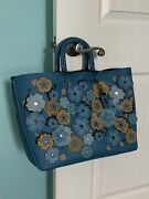 Authentic Coach Rogue Tote With Linked Tea Rose Appliquandeacute-blue/turquoise