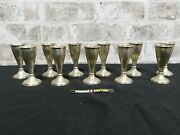 Sterling Silver Cordials Shot Glasses Set Of 11 Weighted 440gm.great Antique Cnd