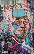 Expressionism Large Ben Franklin Art Painting Original Canvas Mosaic Collectible