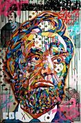 Expressionism Large Abraham Lincoln Painting Original Canvas Mosaic Collectible