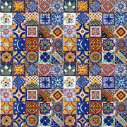 100 Mexican 2x2 Ceramic Tiles Handmade Handpainted Clay Tile Set 003
