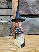 Primitive Halloween Folkart Poliwoggs Witch With Black Cat