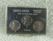 1943 P/d/s Lincoln Wheat Penny Cent Set. Bu. In Plastic Case