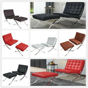 Fit Barcelon-a Style Lounge Chair Or W/ottoman Set Italy Leather Stainless Steel