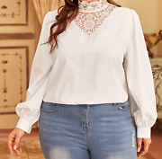 Plus Size Solid Long Sleeve Contrast Lace Collared Blouse Top Elegant Formal