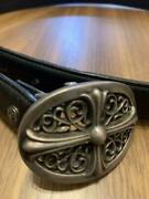 Chrome Hearts Classic Oval Cross Belt Buckle Small Leather Belt 32