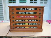 Antique Country Store Display Clarkandrsquos Six Drawer Spool Cabinet Very Nice Clean