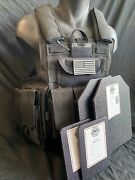 Black Tactical Vest Plate Carrier W/ 2 Curved 10x12 Plates And Side Plates