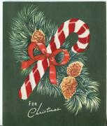 Vintage Christmas Candy Cane Pine Cones Needles Green Flocked Mcm Greeting Card