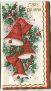 Vintage Christmas Gold Embossed Red White Bells Holly Berries Art Greeting Card