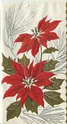 Vintage Christmas Red Poinsettia Flowers Gold Leaves Embossed Greeting Card Flaw