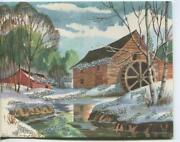 Vintage Christmas Snow Grist Water Mill Stream House Birch Trees Greeting Card