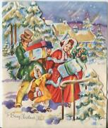 Vintage Christmas Victorian Family Village Houses Trees Presents Greeting Card