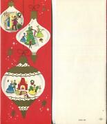 Vintage Christmas Red White Gold Ornaments Victorian Tree Art Mcm Greeting Card