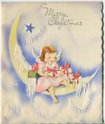 Vintage Christmas Angel Quarter Moon Icicles Star Embossed Snow Greeting Card