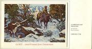 Vintage Christmas Cowboy Horse Rescuing Cow And Calf Paul Salisbury Greeting Card