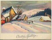 Vintage Christmas Fauvism Art House Village Snow Mountains Trees Greeting Card