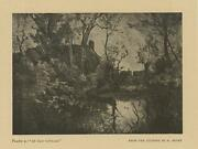 Antique Old House Cottage Trees Pond Rustic Woods Primitive Small Old Art Print