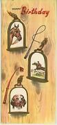 Vintage Equestrian Horse Dog Hunting Bday Card And 1 Christmas Snow House Card
