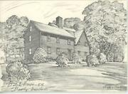1 Vintage Batch House 1636 Historic House Beverly Ma 1 Seashell Note Card Print