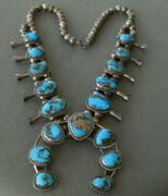 Native American Bisbee Turquoise Sterling Silver Squash Blossom Necklace